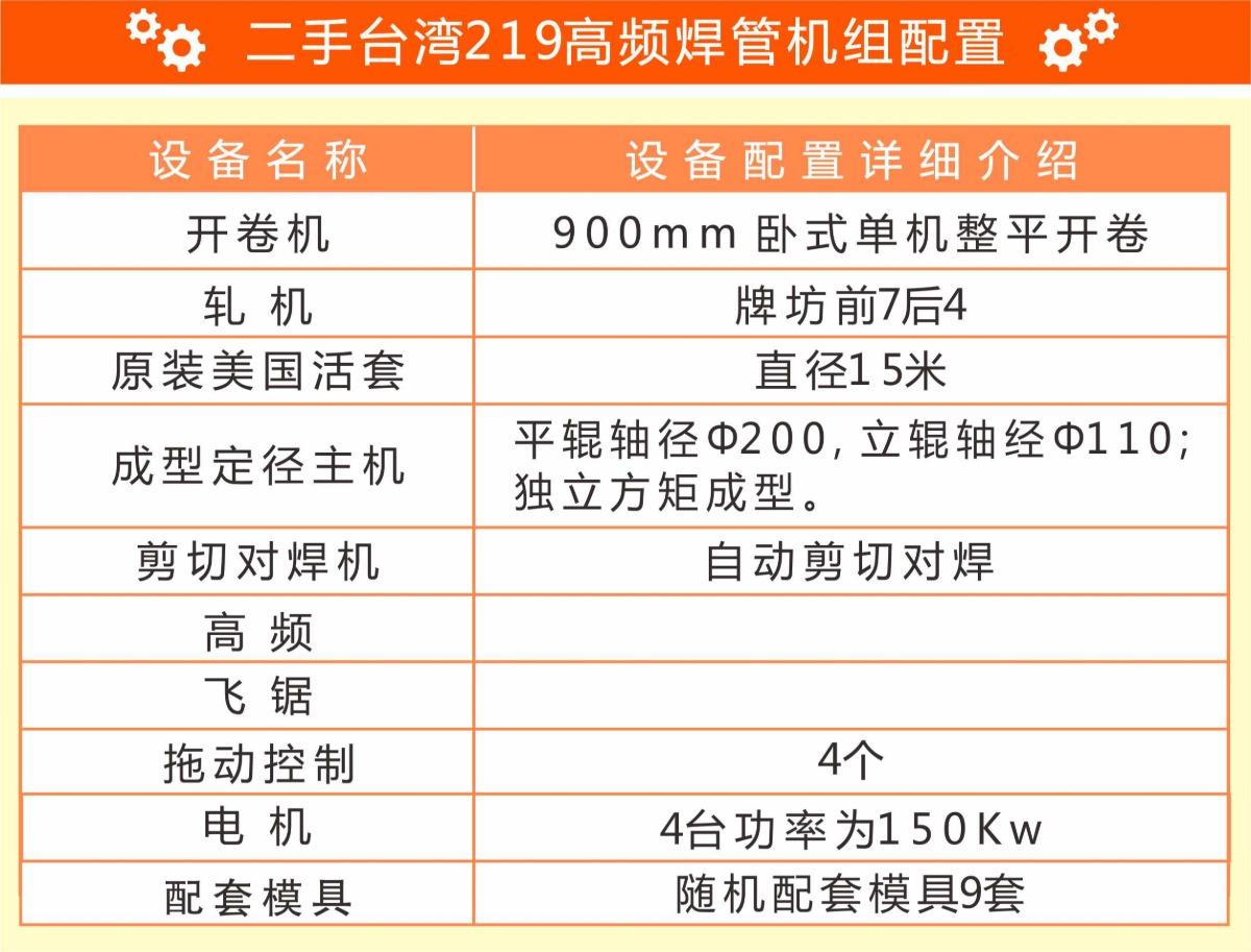 二手台湾219高频焊管机组